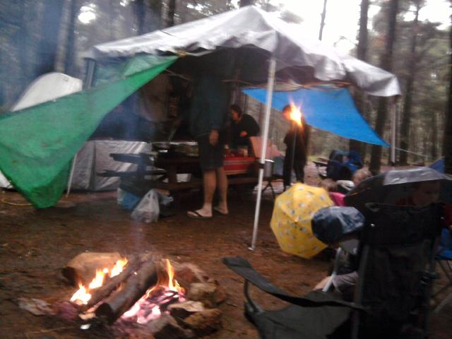 Campfire at camp in Australia